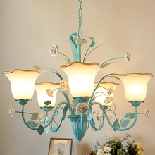 American Rustic Rural Blown Glass Chain French Art Deco Flower Led Chandelier Light Lighting For Living Room Bedroom Decoration