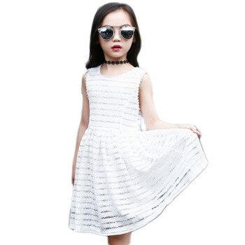 35a586a8b Verano nueva ropa de los niños vestidos niñas niños hermosos del vestido  del cordón muchachas del vestido blanco ropa del adolescente para la edad  4- 12 A08