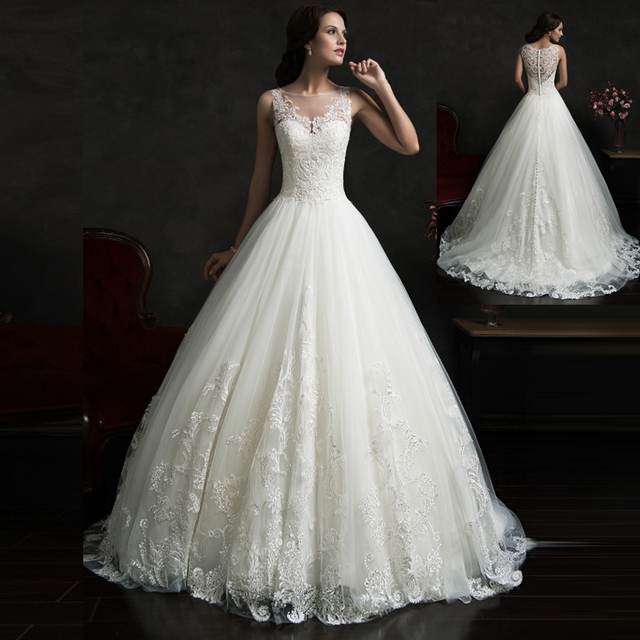 6242983dfc91 Classic Ball Gown Low Back Hot Sale Romantic Wedding Dresses Custom-made  Strapless Lace&Tulle Bride Gown Vestido Casamento SWT57