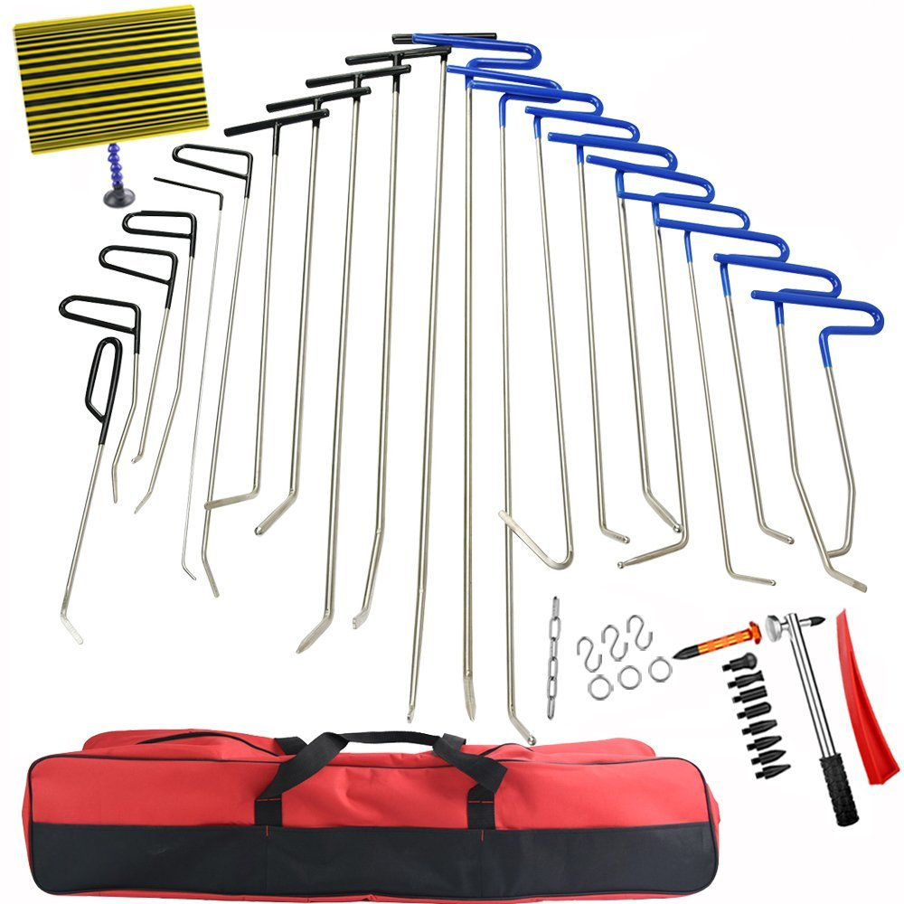 42Pcs PDR Tools Push Rods Dent Remover Tools  Hail Damage Removal Car Ding Dent Repair Rod Hook