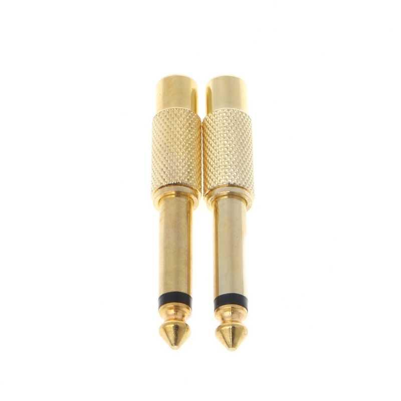 """2 szt. 6.35mm 1/4 """"Mono męska wtyczka do wtyczki żeńskiej RCA adapter audio kabel konwertera"""