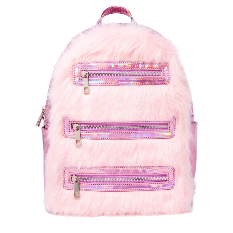 Benviched 2018 Новая мода розовый Лазерная плюшевые Для женщин рюкзак школьный рюкзак сумка для подростков девочек Сумки на плечо Mochila S144