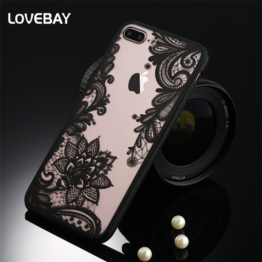 finest selection 14ac8 e2dcc Sexy Lace Phone Iphone 7 8 Plus 6 6S Plus 5S SE Floral Paisley Flower  Mandala Henna Clear Case Hard PC Back Cover Bags