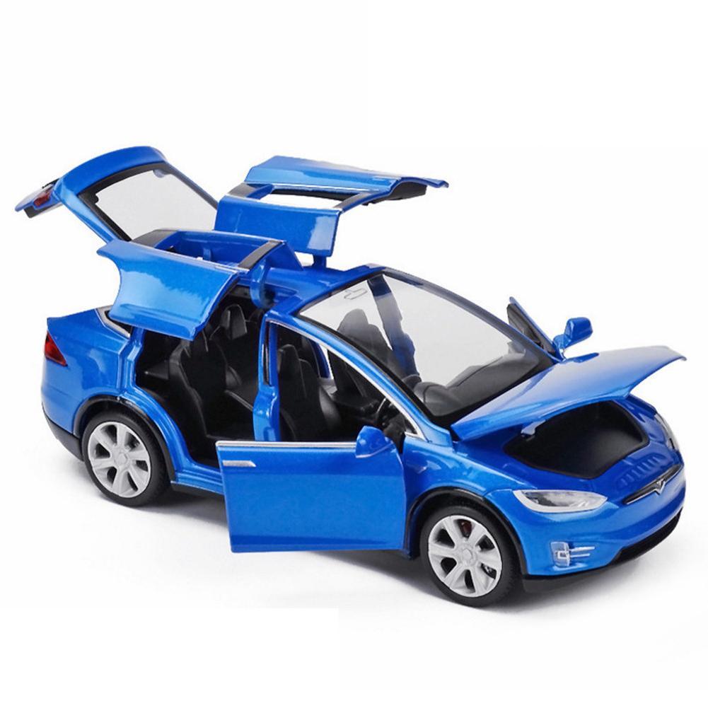 High Simulation 1:32 Tesla Model X90 Metal Model Acousto-optic Pull-back Toy Car 4 Open Door Flashing Music Kids Toy Gift