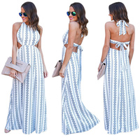 New 2017 Women Hollow Out Bow Beach Dress Tunic Boho Halter Robe Noel Femme Long Dress Great Gatsby China Clothing Factories