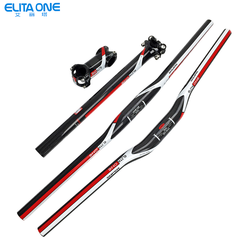 Bicycle Full Carbon Fiber Handlebar Set 3k Flat Riser Handlebar +stem +seatpost Mtb Road Mountain Bike Bicicleta Bicycle Parts