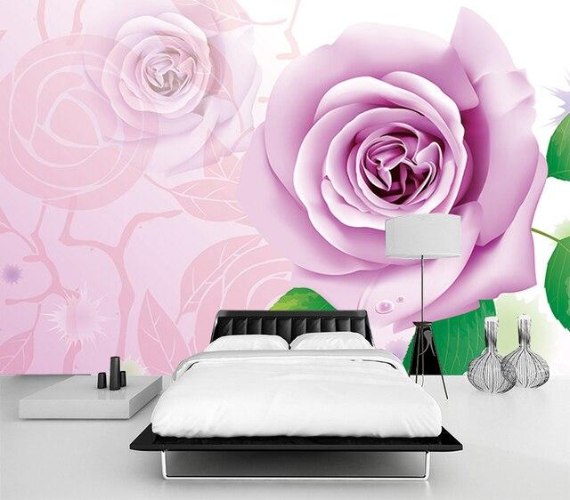 custom wall mural 3D European purple rose living room bedroom TV ...