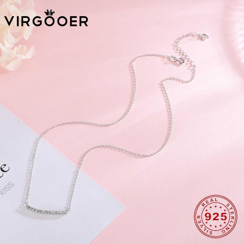 Virgooer 925 スターリングシルバー新エレガントなクリスタル笑顔ネックレス女性ジュエリー Cadenas · デ · プラタ 925 mujer 送料無料