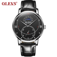 OLEVS Watch men waterproof sport Mens watches top brand luxury Japan high quality Quartz watch Leather Moon phase Small seconds