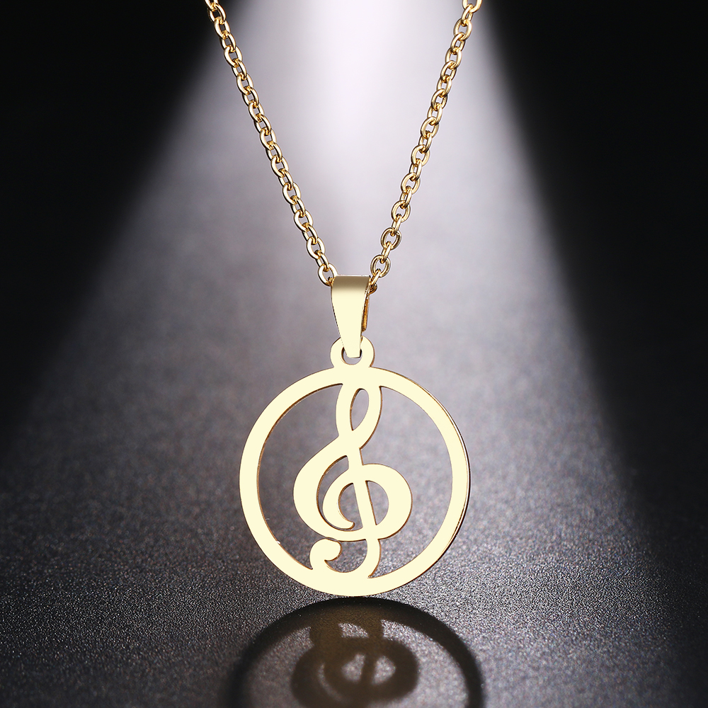 HTB18g9JaYr1gK0jSZR0q6zP8XXa4 - DOTIFI  Stainless Steel Necklace For Women Man Musical Symbol Gold And Silver Color Pendant Necklace Engagement Jewelry