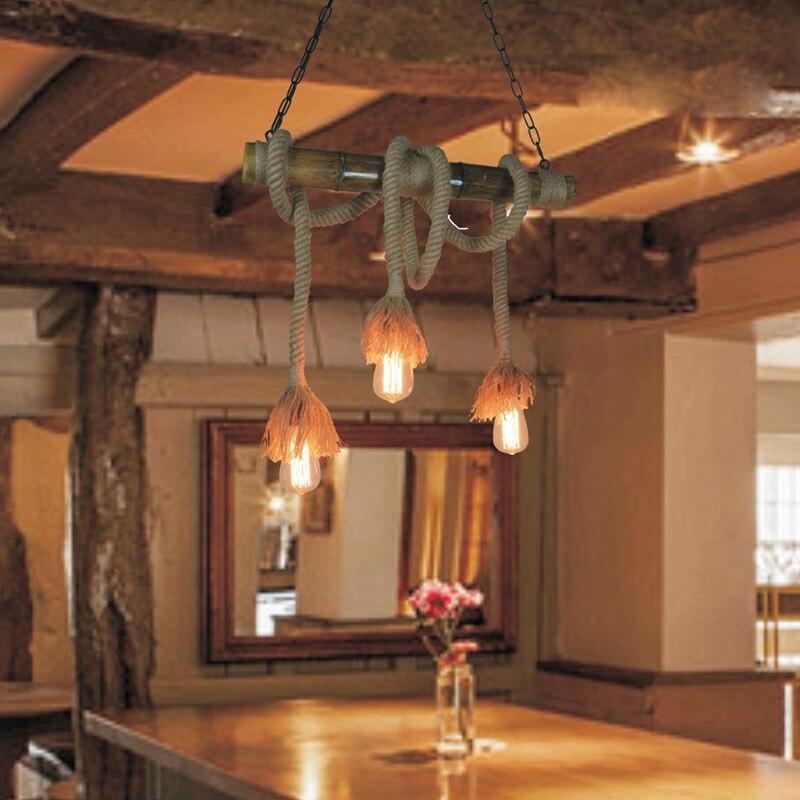 Vintage Touw Lampen Thuis Verlichting lustres e pendentes e27 220 v voor decor Loft Industriële hanglampen Touw verlichting D58