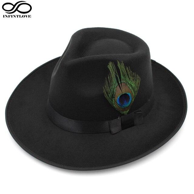 LUCKYLIANJI Men Women Classic Wool Felt Jazz Panama Hat Teardrop Top Wide  Brim Peacock Feather Band Bowler (One Size 7 1 4-58cm) 96026793b9cd
