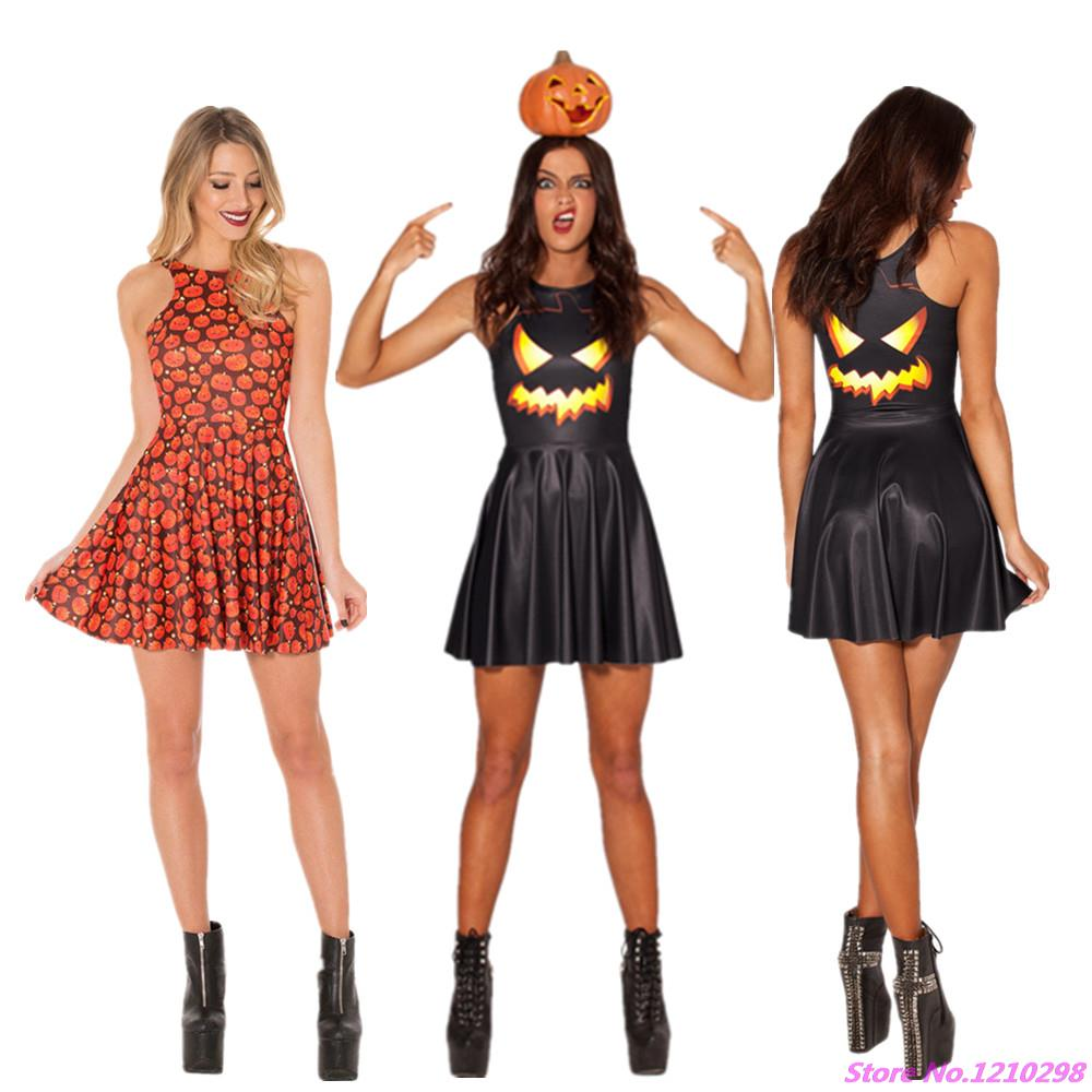 2cee825e3e91f US $14.27  Halloween Party Dress Sexy Vestidos Sleeveless A line Round Neck  Black Pumpkin Lamp Dress Party Women 3D Batman Mini Dress-in Tennis ...