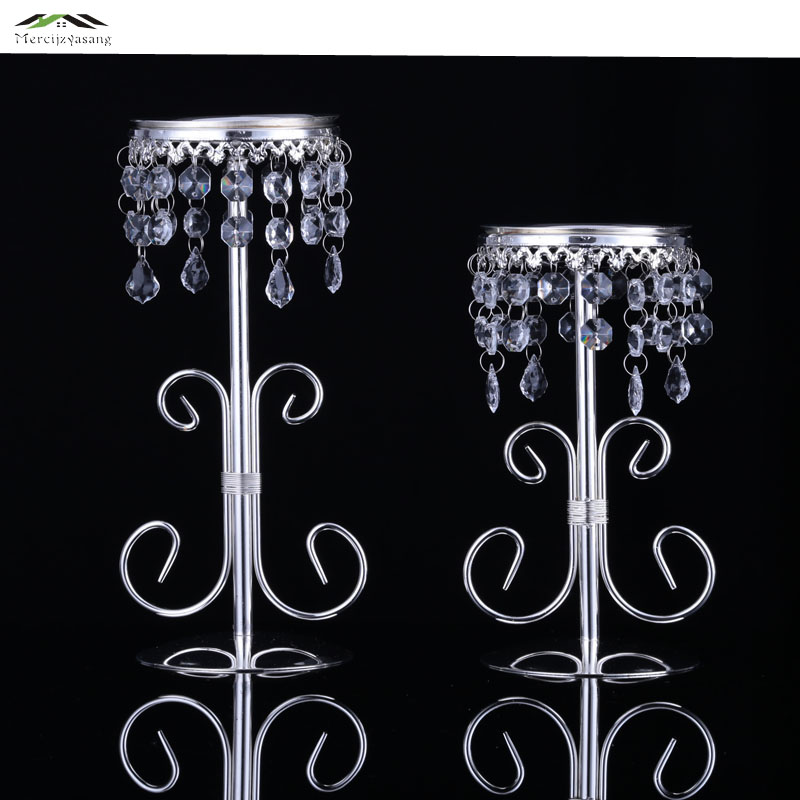 2pcs Lot Tall Foot Glass Candlestick Candle Holders