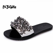 6cd5cecf92bde1 Bling Bling Summer Gladiator Sandals Sexy Beach Flat Shoes Woman Gold Flats  Casual Women Shoes Size