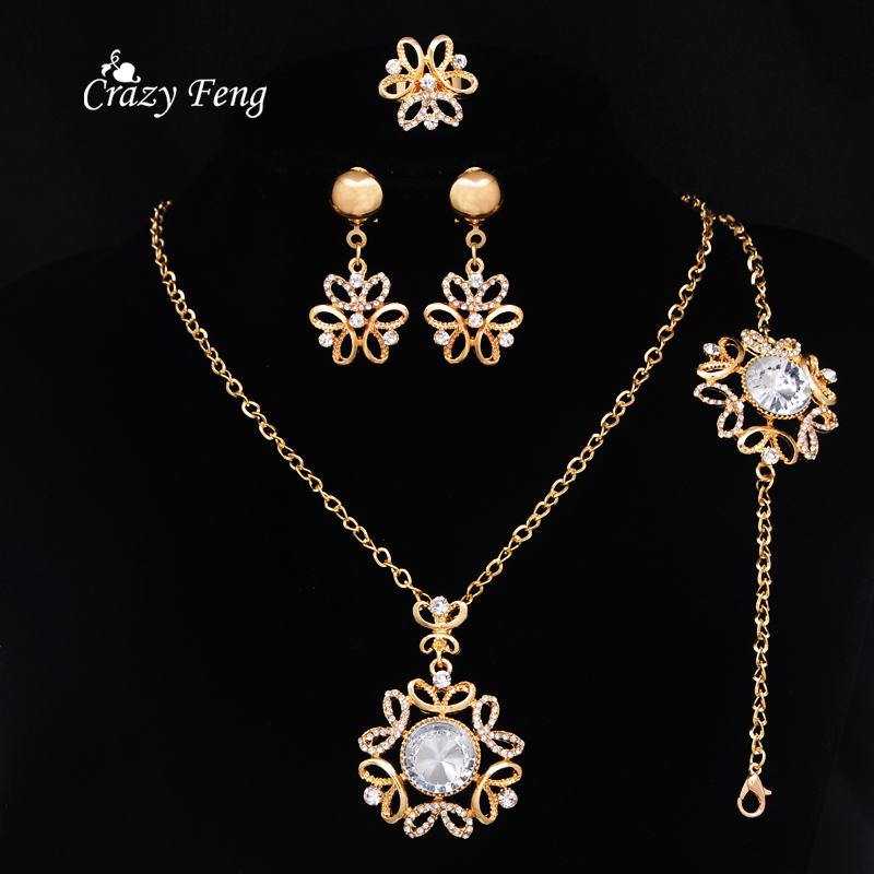 African Jewelry Sets Gold color Gem Stone Crystal Flower Charms Pendants Necklace Earrings Set Nigerian Wedding Accessories in Bridal Jewelry Sets from Jewelry Accessories
