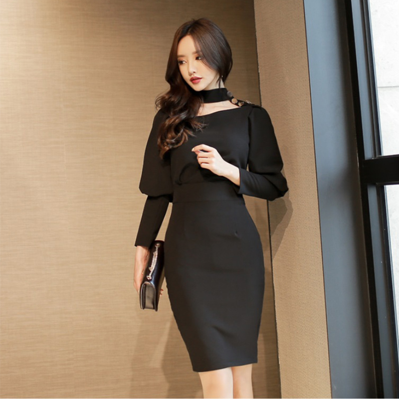 88dc4b9f266 Autumn dress women new fashion casual long sleeve pencil knee length halter  ladies dresses vestidos Long korean dress fall 2018