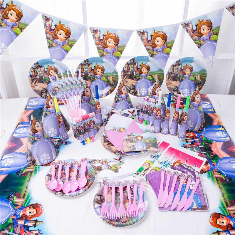 Kartun Sofia Putri Sekali Pakai Cangkir Kertas Piring Serbet Banner Taplak Meja Pesta Ulang Tahun Baby Shower Dekorasi