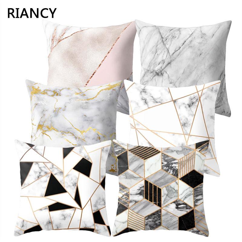 >Brief Marble Geometric Sofa <font><b>Decorative</b></font> <font><b>Cushion</b></font> <font><b>Cover</b></font> Pillow Pillowcase Polyester 45*45 Throw Pillow Home Decor Pillowcover 40507