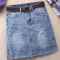 2018 Summer Fashion Women Skirts Denim High Waist Stretch package hip Short Mini a line Skirt plus size 2XL