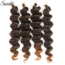 Saisity deep wave crochet hair synthetic hair weave ombre braiding hair african braids deep curly crochet braids hair extensions(China)