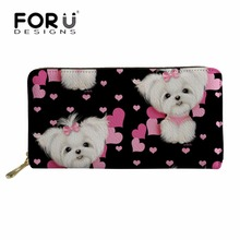 FORUDESIGNS Cute Women Wallets Maltese Florals Printing Long Purse Phone Cash Card Holder Ladies Cluth Party Bag Portable Wallet