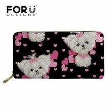 цены FORUDESIGNS Cute Women Wallets Maltese Florals Printing Long Purse Phone Cash Card Holder Ladies Cluth Party Bag Portable Wallet