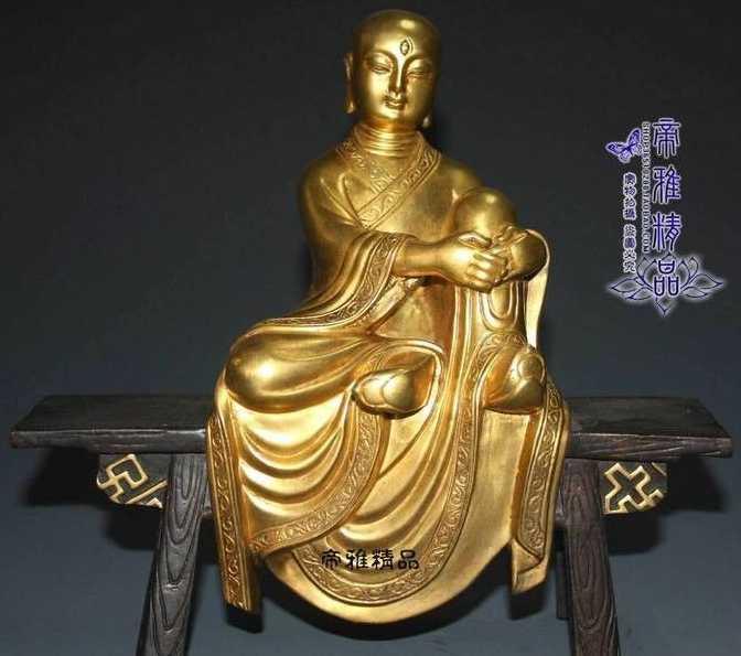 Free shipping Tibet Buddhism Pure Copper 24K Gold Gild Wooden bench Buddha Bodhisattva Statue