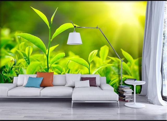Custom 3d Mural Wallpaper TV Backdrop Wall Murals HD Leaves Light Fresh Green Landscape Life