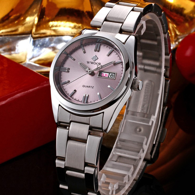 Hot Fashion Brand Relogio Feminino Date Day Clock Female Stainless Steel Watch L