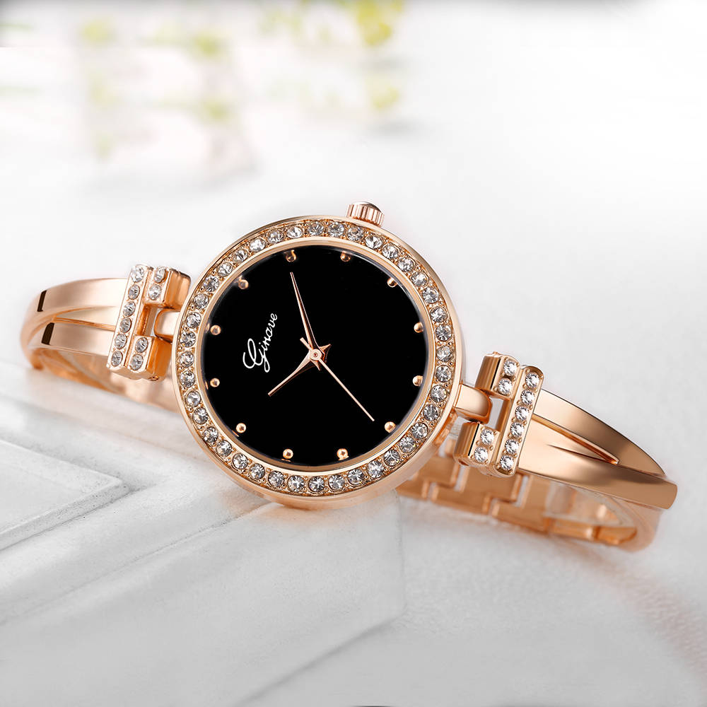 GINAVE Bracelet Watches Rhinestones Shell Face Lady Fashion Dress Rose Gold Charming Chain Jewelry Clock Quartz Women Watch