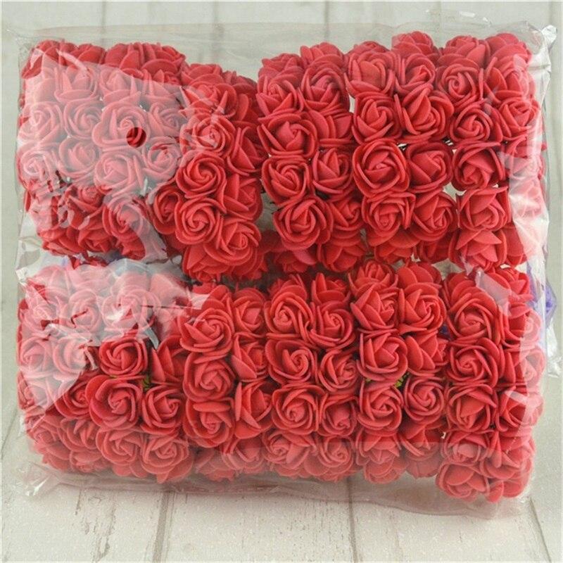 144pcs/lot Mini Red Pe Rose Foam Flower Single Heads Bouquet For Wedding Home Decoration Scrapbooking DIY Wreath Flowers
