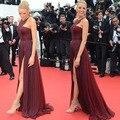Festival de Cine de Cannes blake Lively Halter Top con Espalda Abierta Borgoña Gasa vestido de Hendidura Vestidos de Noche Red Carpet Celebrity Dress 2017