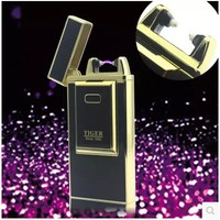Tiger cigarette lighter plasma windproof metal pulse charge usb lighters electronic Cigar lighter Gadgets For Men Gift Smoking