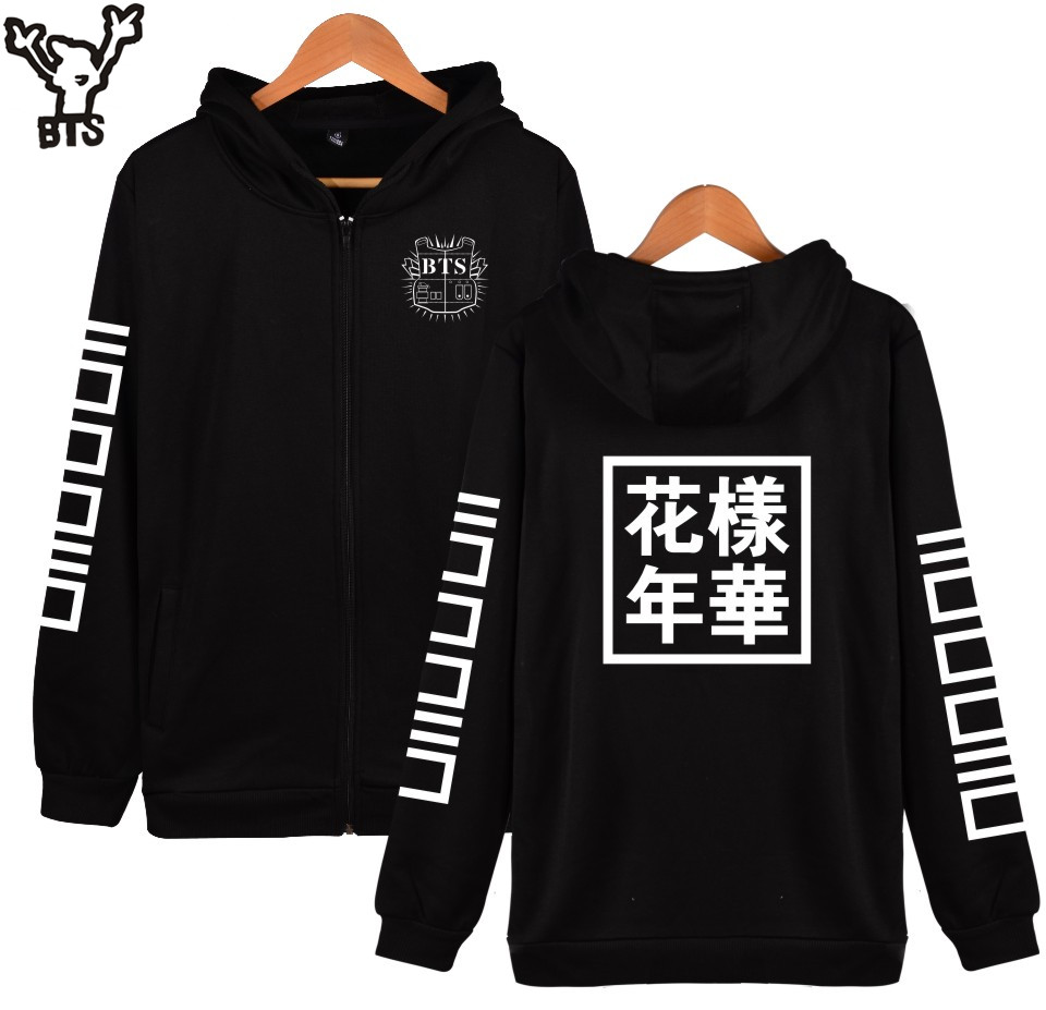 BTS Kpop Hooded Women Hoodies Zipper Korean Popular Bangtan Hip Hop Coat Winter Sweatshirt Women Cotton Casual Funny 4XL Clothes