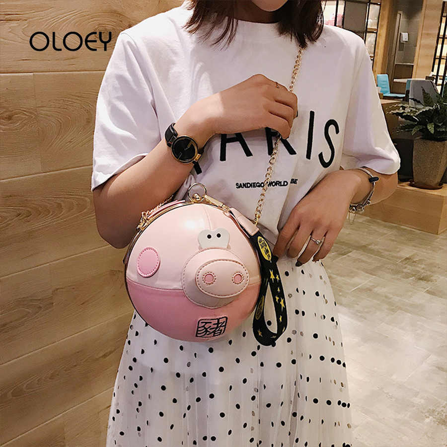 Bolso de hombro para mujer de cerdo Rosa bonito bolso redondo de cadena de moda coreana bolsos de lujo Bolsos De Mujer bolso de muñeca de diseñador para fiesta