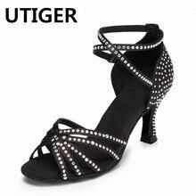 Zapatos de baile latino de satén con diamantes de imitación para mujer  zapatos de baile de salón de baile de Salsa de tacón alto. d57cd7dbf2a3