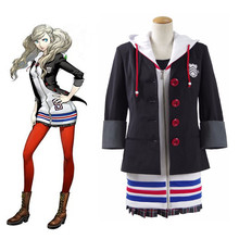 Persona 5 Anne Takamaki Dress Cosplay Costume Christmas Halloween Jacket Coat Dress+Skirt +Shirt+ Stockings Sets for Girl Woman