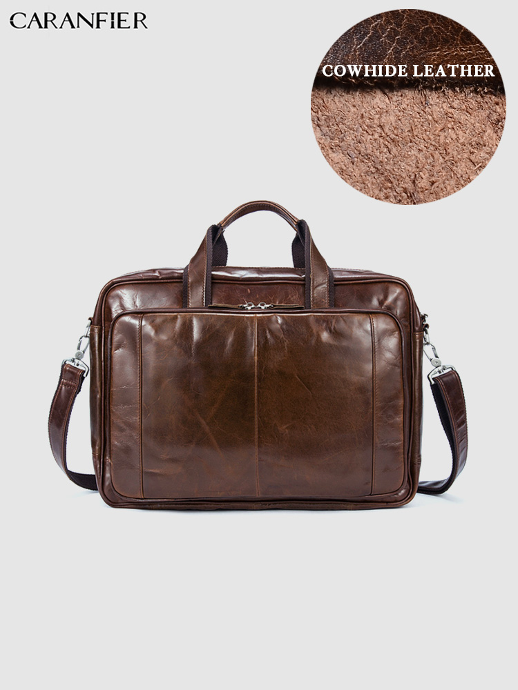 CARANFIER Mens Briefcase Bag Genuine Leather Laptop Travel Totes Large Capacity Male Business Solid High Quality Male Briefcase