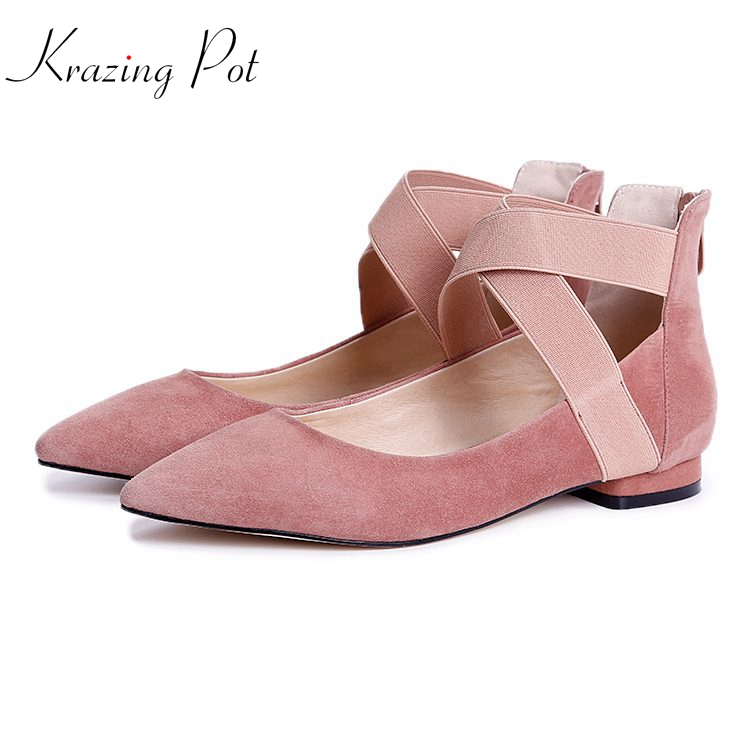 Krazing pot shepp suede fashion brand shoes shallow pointed toe low heel pink color ankle strap ballet dancer women pumps L36 блок питания intel fxx460gcrps 915603 460w