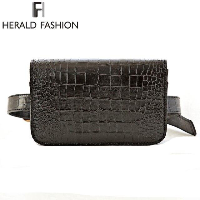 Herald Fashion Women Waist Belt Bag Crocodile PU Leather Belt Pack Waist Bag Small Women Bag Travel Bag Waist Pack Bolsas
