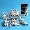 Comercio al por mayor 20 unids/lote 3 pulgadas Mini Conjunta Kawaii Conejo de Juguete de Felpa del Animal Relleno Suaves juguetes para Ramos Pequeño Colgante