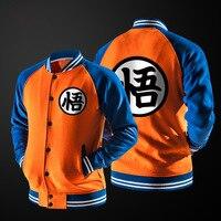 Nueva Japanese Anime Dragon Ball Goku Varsity Jacket Otoño Chaqueta Informal Suéter Con Capucha de Marca Capa de la Chaqueta de Béisbol