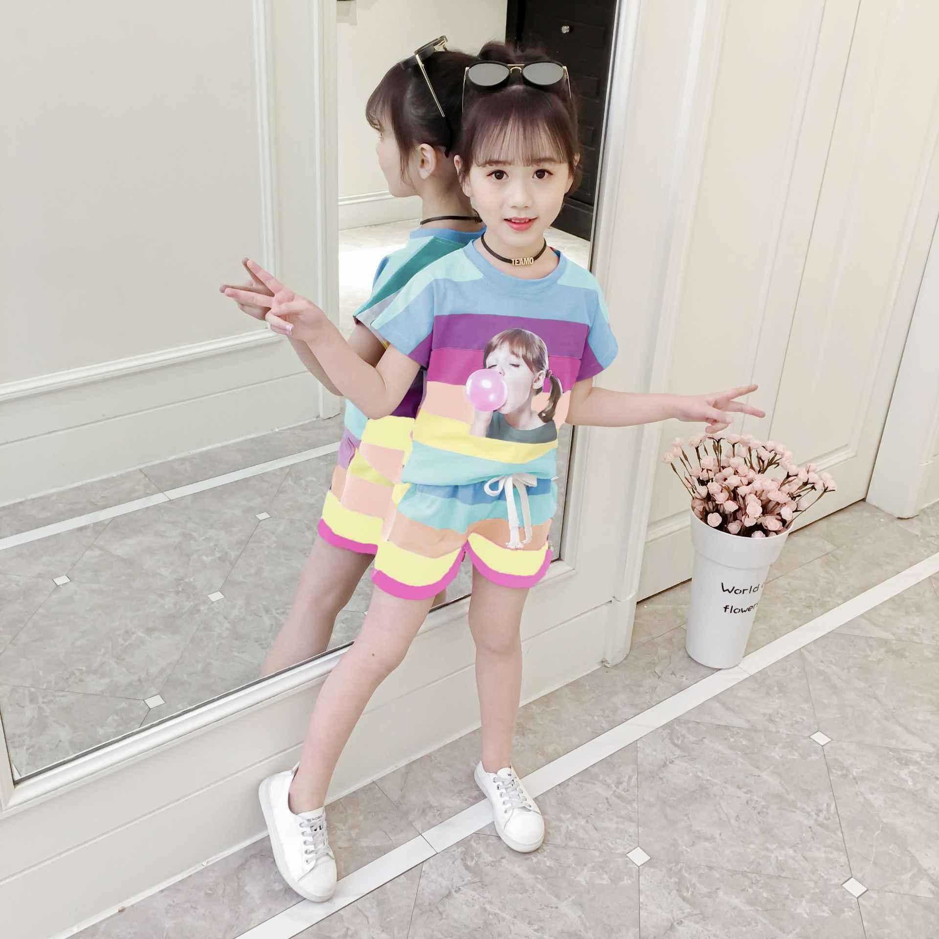 ילדי סטי 2019 חדש בנות גרסה קוריאנית שני חלקים עם שרוולים קצרים בגדי ילדים קיץ Hipster סגנון קשת צבע בגדים