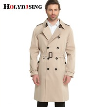 S 6XL Trench Coat Men British Style Spring Autumn Pea Coats Double Breasted Slim Solid Mens Wind Coat Windbreaker 4 color