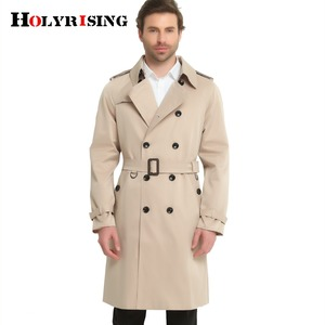 Image 1 - S 6XL Trench Coat Men British Style Spring Autumn Pea Coats Double Breasted Slim Solid Mens Wind Coat Windbreaker 4 color