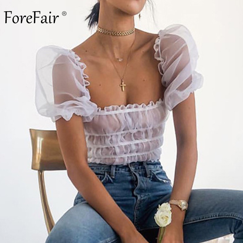 Forefair Sexy Puff Sleeve Top White Summer Sheer Off Shoulder Top See Through Elegant Short Sleeve Ruffle Tunic Blouse Women