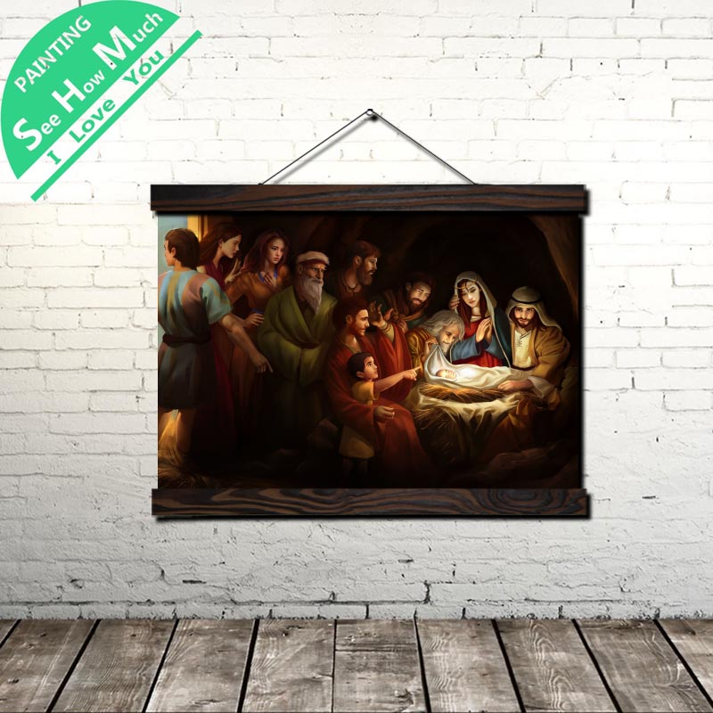 Jesus Art Christmas Scroll Painting Canvas Vintage Poster and Prints Wall Art Picture Living Room Bedroom Farmhouse Decoration