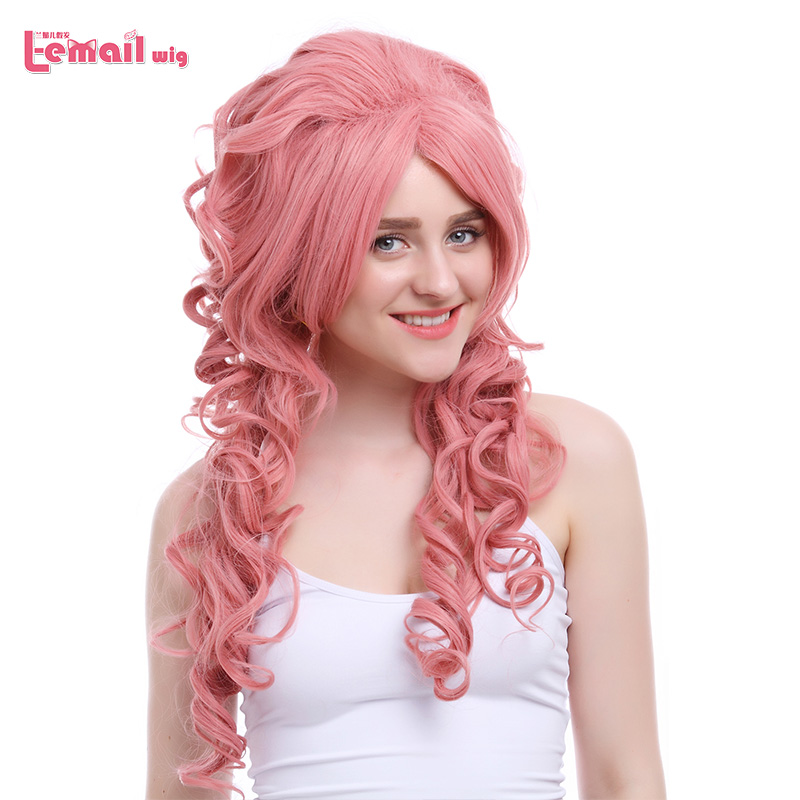 L-email Wig 27.56inch 70cm Long Cosplay Wigs 5 Colors Wavy Beige White Synthetic Hair Perucas Cosplay Wig
