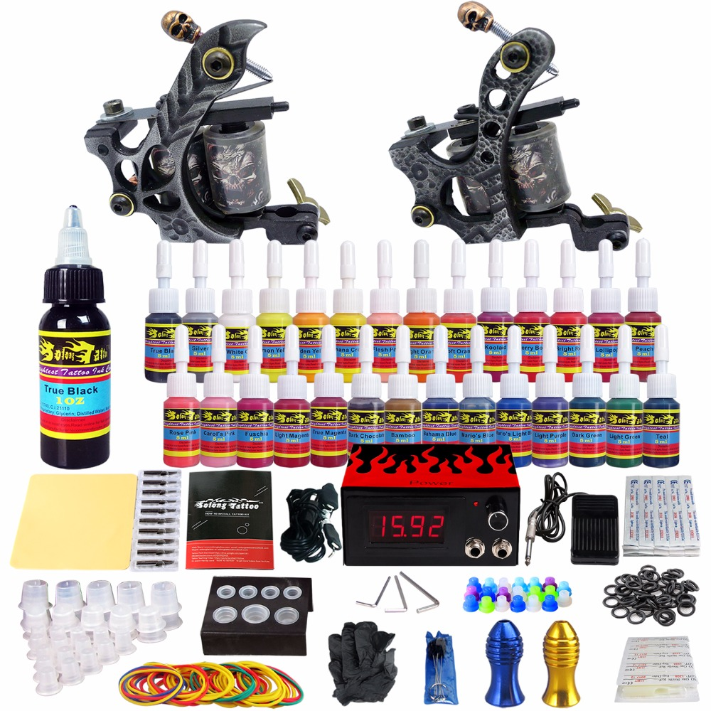 Solong Tattoo complete professional 2 tattoo Machine Guns set Tattoo Kit 28 Inks Power Supply Needle Grips power supply TKB02 europe god of darkness robert recommend gp self lock grips gp3 professional tattoo artist grip